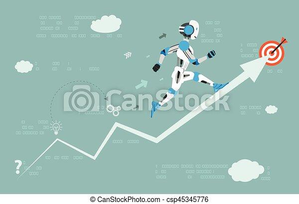 cible, robot, courant, flèche, données, dessin animé - csp45345776