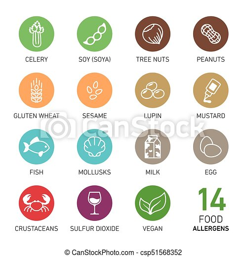 cibo, allergens, set - csp51568352