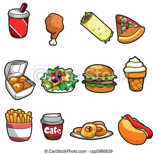 cibo, cartone animato, digiuno, icona - csp5986639