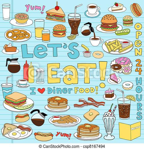 cibo, commensale, set, doodles, quaderno - csp8167494