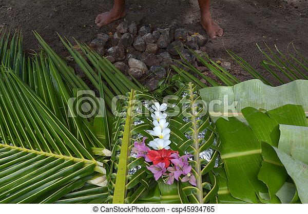 cibo, isole, fijian, figi, lovo - csp45934765