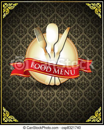 cibo, menu, vettore, coperchio, sagoma - csp8321740