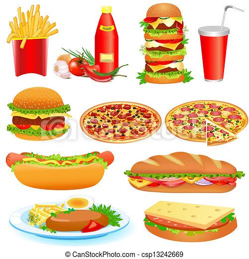 cibo, pitsey, digiuno, set, ketchup - csp13242669