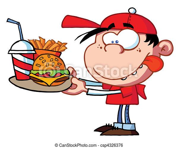 cibo, ragazzo, mangiare, digiuno - csp4326376