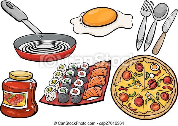 Cibo, Set, Cartone Animato, Oggetti, Cucina   Csp27016364