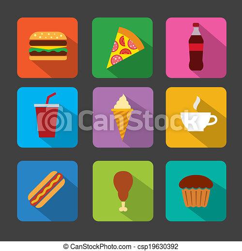 cibo, set, digiuno, icona - csp19630392
