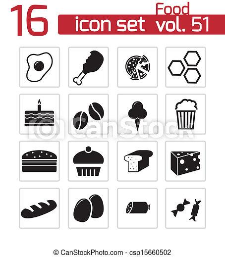 cibo, set, nero, vettore, icone - csp15660502