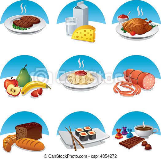 cibo, set, pasto, icona - csp14354272