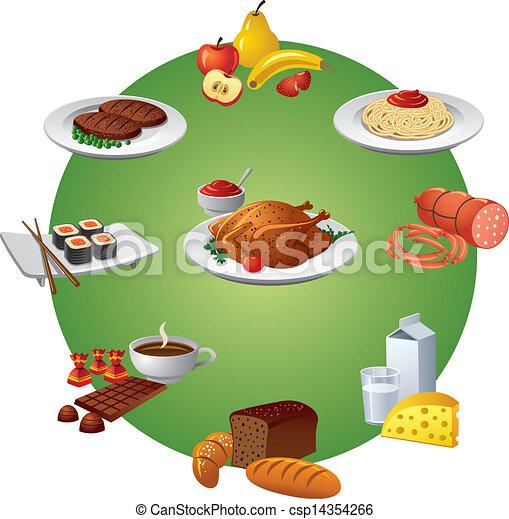 cibo, set, pasto, icona - csp14354266