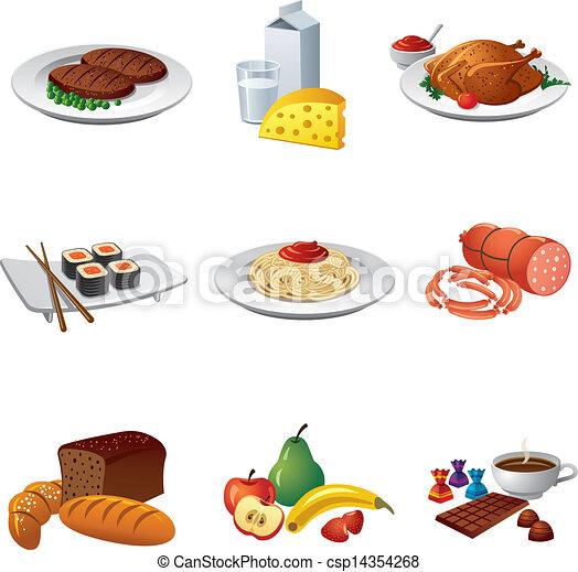 cibo, set, pasto, icona - csp14354268