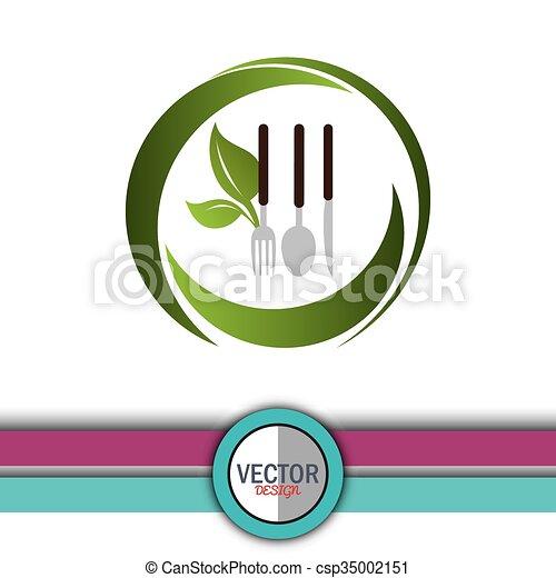 cibo, vegetariano, disegno - csp35002151
