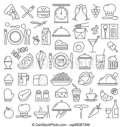 cibo, vettore, set, icone - csp68387446