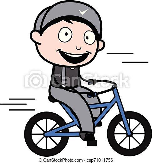 ciclismo, -, trabalhador, ilustração, vetorial, retro, repairman, caricatura - csp71011756