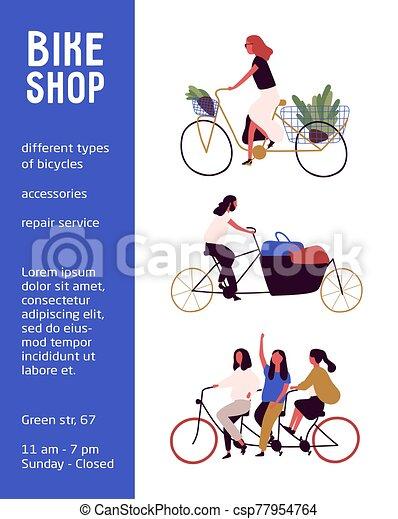 ciclismo, vector, muestra, bicicleta, accesorios, blanco, tienda, diferente, cartel, reparación, tipos, text., tienda, ilustración, servicio, cartel, aislado, bicicleta de equitación, gente, fondo. - csp77954764