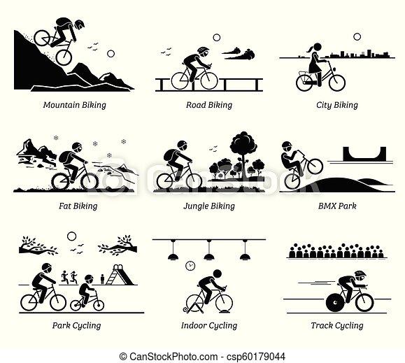 Un ciclista en bicicleta en diferentes lugares. - csp60179044