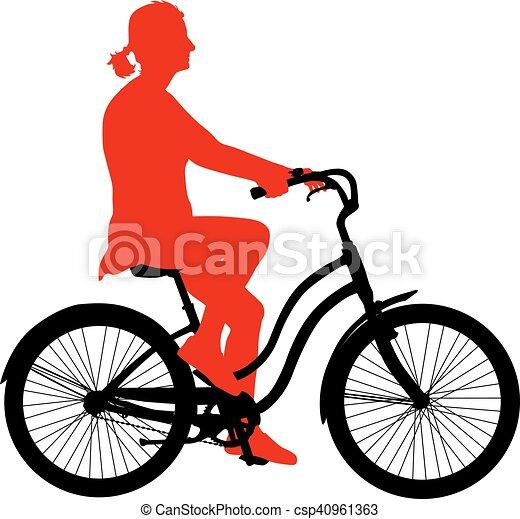 Silueta de una chica ciclista. Ilustración de vectores - csp40961363