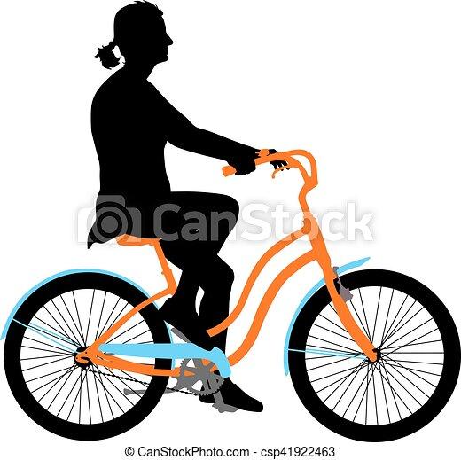 Silueta de una chica ciclista. Ilustración de vectores - csp41922463