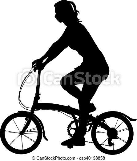 Silueta de una chica ciclista. Ilustración de vectores - csp40138858