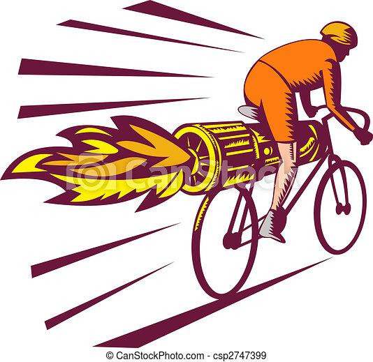 abbastanza Ciclista, motore, stile, bicicletta, woodcut, jet, isolato  FF11