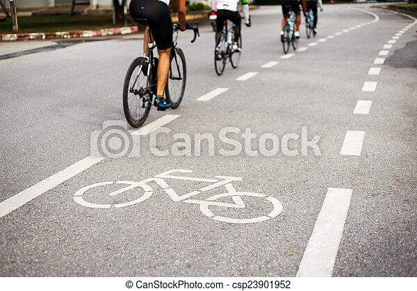 ciclista, parque bicicleta, sinal, ícone, ou, movimento - csp23901952