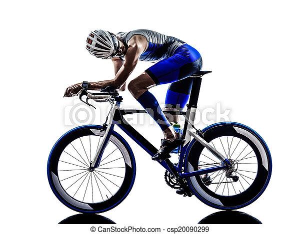 ciclista, triatlón, el montar en bicicleta, atleta, hierro, hombre - csp20090299