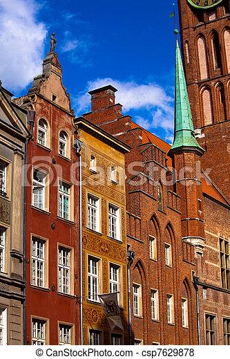 cidade, antigas, gdansk, polônia - csp7629878