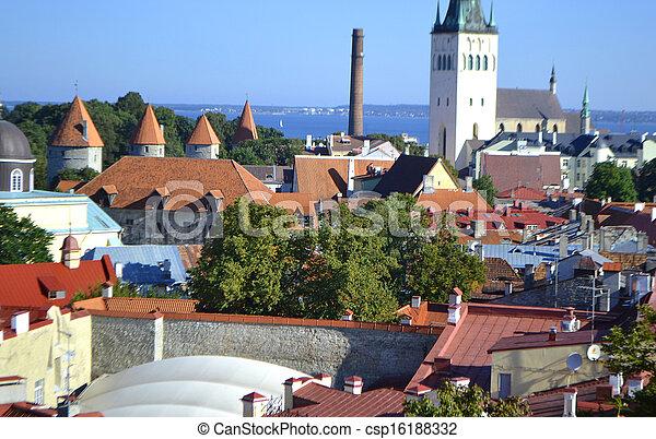 cidade, antigas, tallinn - csp16188332