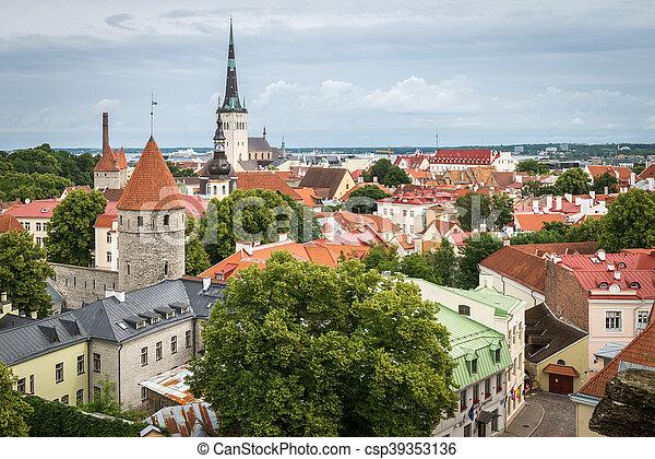cidade, antigas, tallinn, estónia - csp39353136