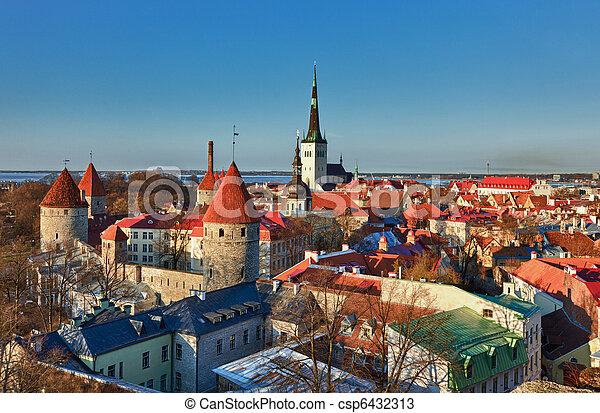 cidade, antigas, tallinn, estónia - csp6432313