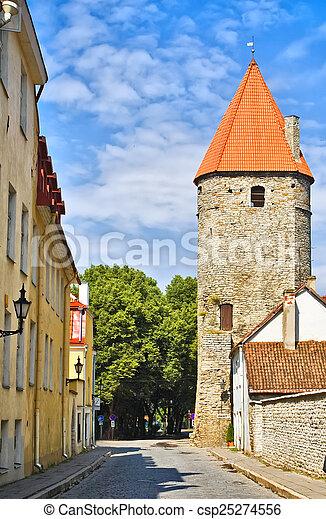 cidade, antigas, tallinn, fortaleza - csp25274556