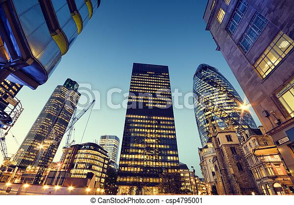 cidade, arranha-céus, london. - csp4795001