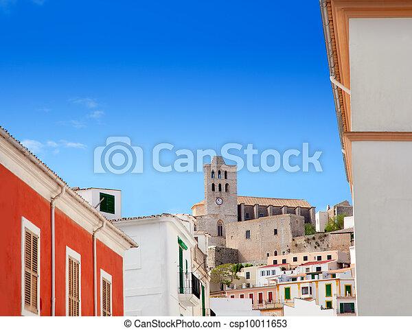 cidade, azul, sob, céu, ibiza, eivissa, igreja - csp10011653