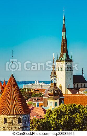 cidade, cidade, antigas, estónia, panorâmico, tallinn, paisagem, vista - csp23935565
