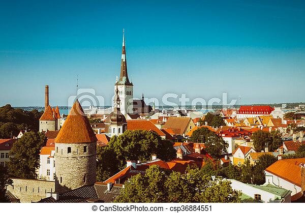cidade, cidade, antigas, estónia, panorâmico, tallinn, cityscape, vista - csp36884551