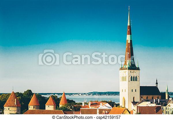 cidade, cidade, antigas, estónia, panorâmico, tallinn, paisagem, vista - csp42159157