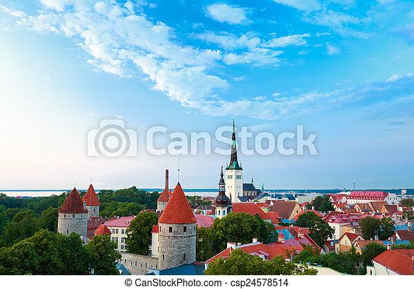 cidade, cidade, antigas, estónia, tallinn, cityscape - csp24578514