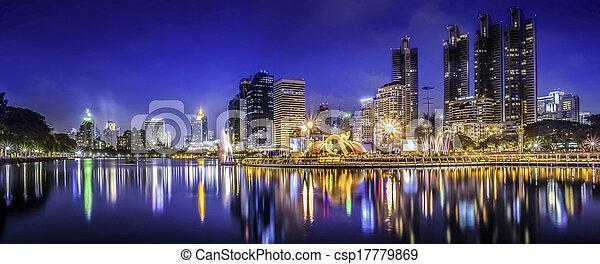 cidade, cidade, tailandia, noturna, bangkok - csp17779869