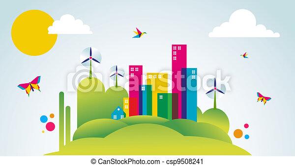 cidade, conceito, primavera, ilustração, verde, tempo - csp9508241