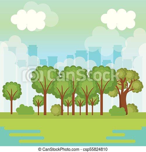 Cidade Desenho Floresta Cidade Ilustracao Skyline Vetorial