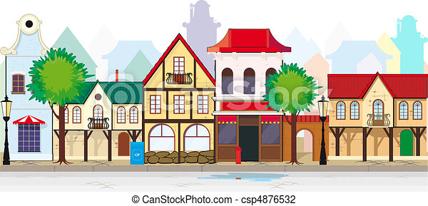 cidade, elegante, pequeno, rua, antigas - csp4876532