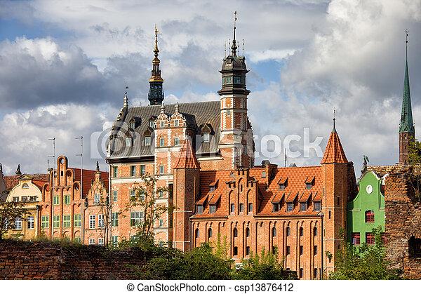 cidade, gdansk, polônia, antigas - csp13876412