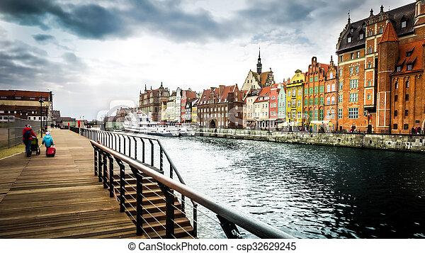 cidade, histórico, gdansk - csp32629245