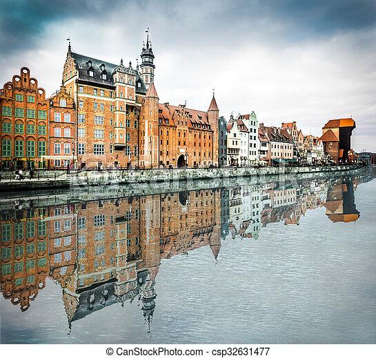cidade, histórico, gdansk - csp32631477