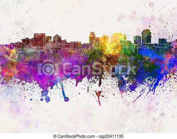 cidade, lago, aquarela, skyline, fundo, sal - csp22411135