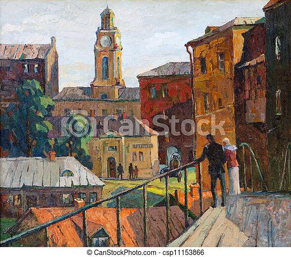 cidade, lona, óleo, vitebsk, desenhado, paisagem - csp11153866