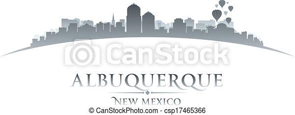 cidade, méxico, albuquerque, ilustração, silhouette., skyline, vetorial, novo - csp17465366