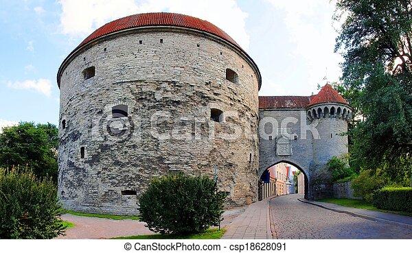cidade, medieval, torres, -, wall., parte, tallinn - csp18628091