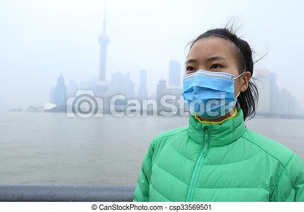 cidade, mulher, máscara, jovem, preocupado, desgaste, poluição - csp33569501