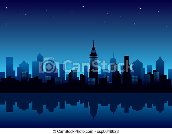 cidade, noturna - csp0648823