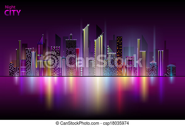 cidade, noturna - csp18035974